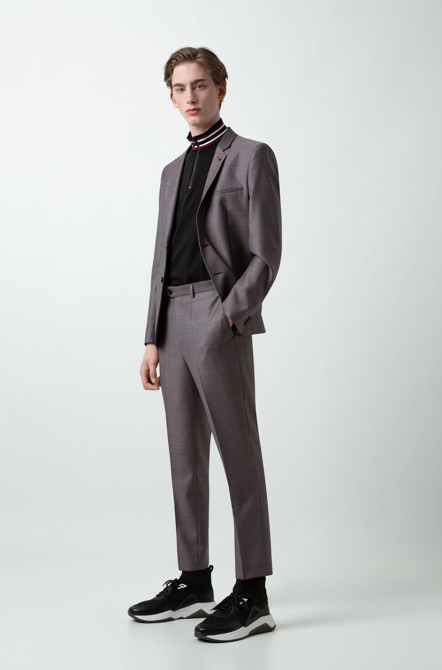 Tapered-fit trousers in three-colour micro-patterned wool, Patterned