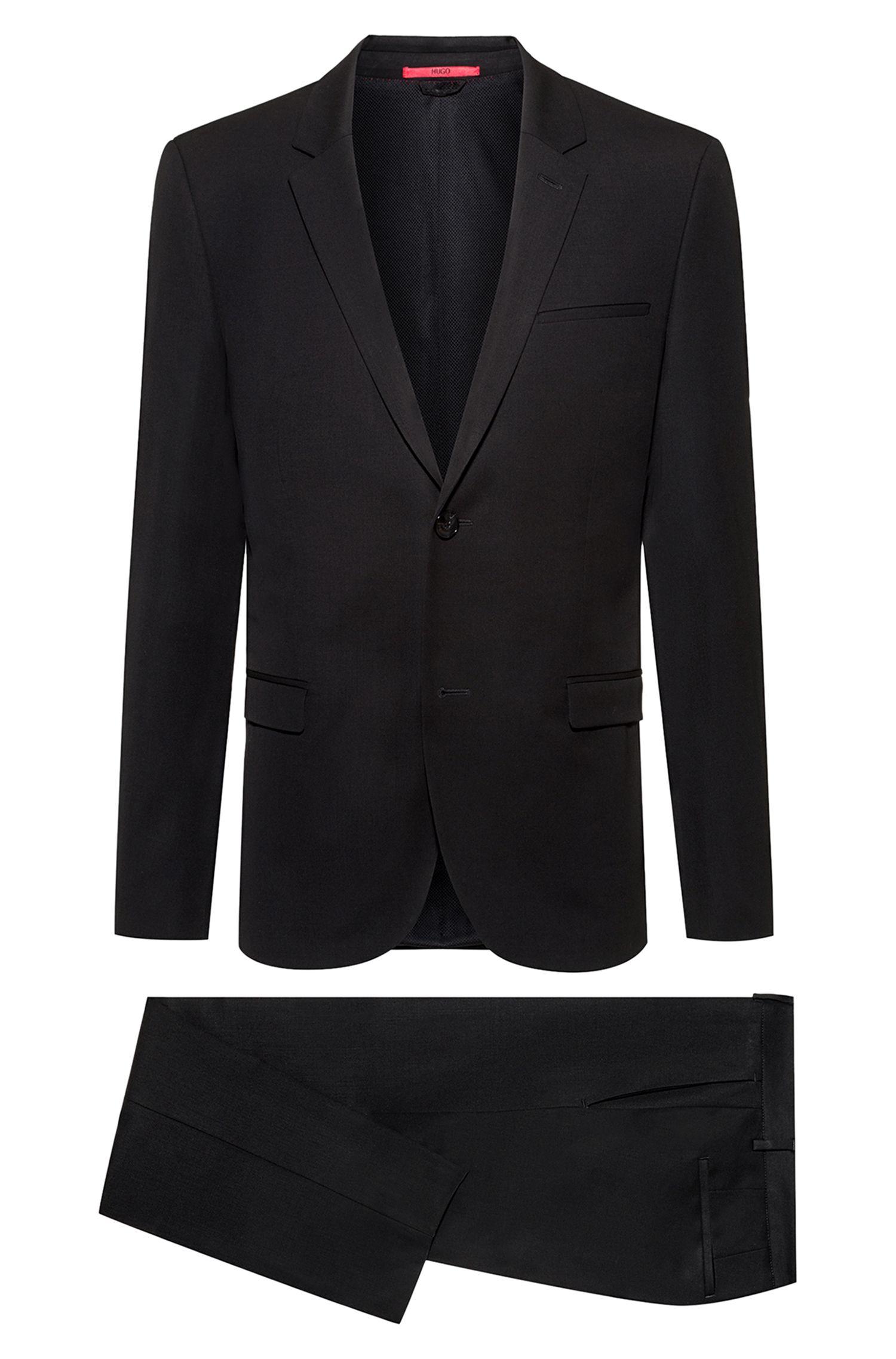 Extra-slim-fit packable suit in virgin-wool twill, Black
