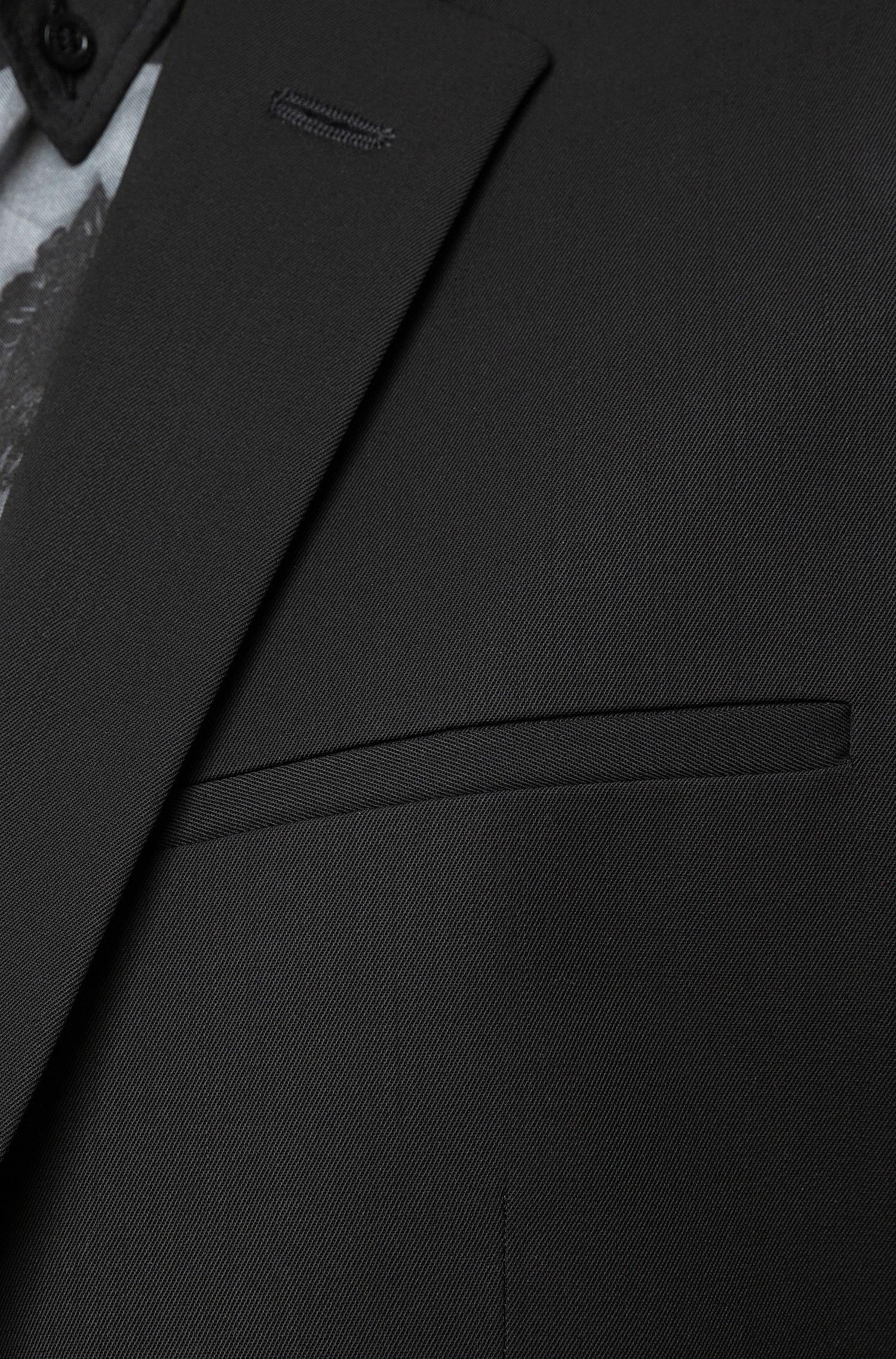 Traje plegable extra slim fit en sarga de lana virgen, Negro