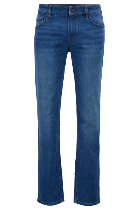 Jeans regular fit in comodo denim elasticizzato blu oceano, Blu