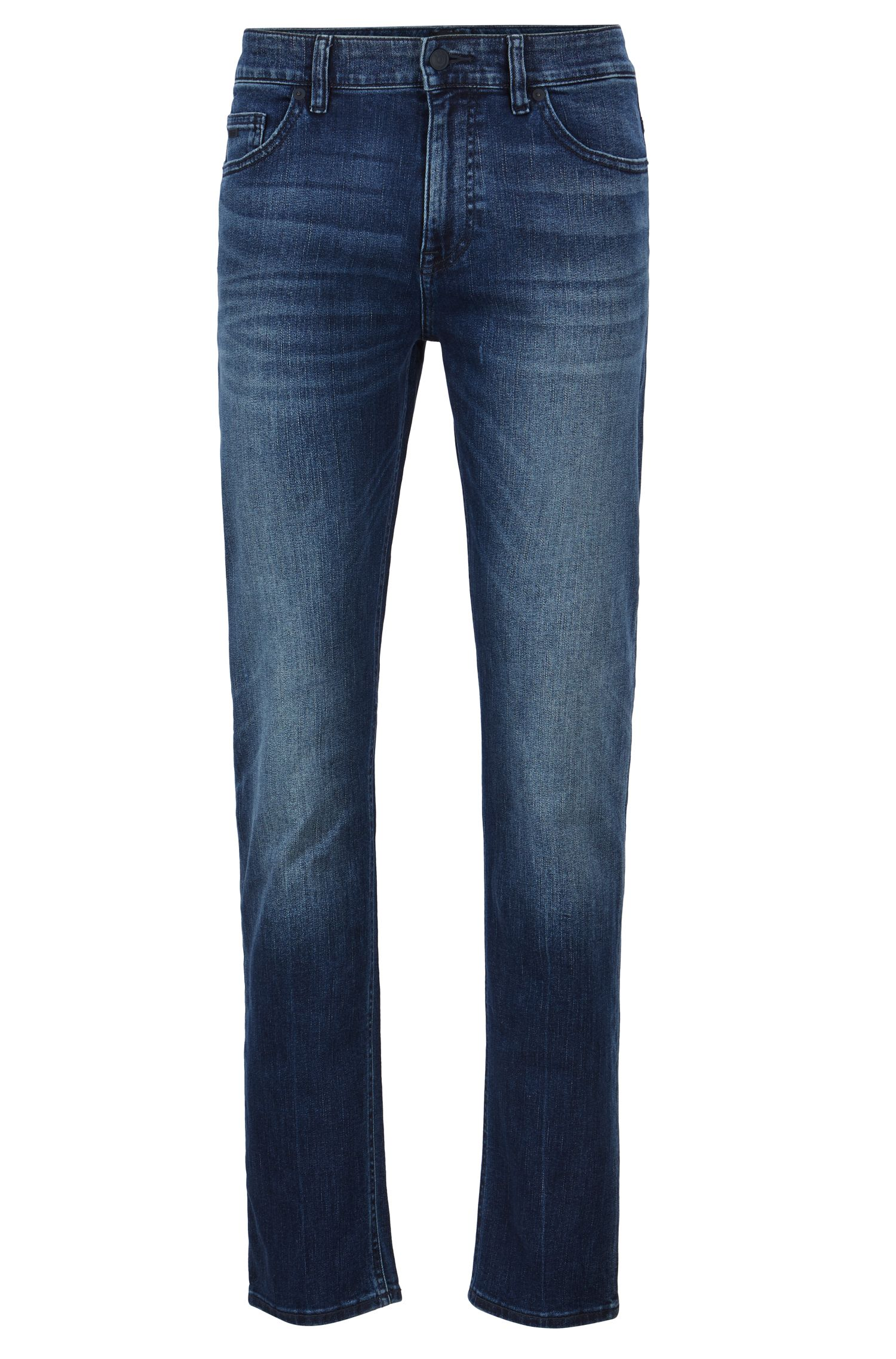 Slim-Fit Jeans aus Super-Stretch-Denim in Used-Optik, Blau