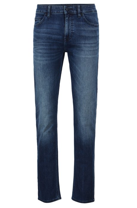 Slim-fit jeans in distressed super-stretch denim, Blue