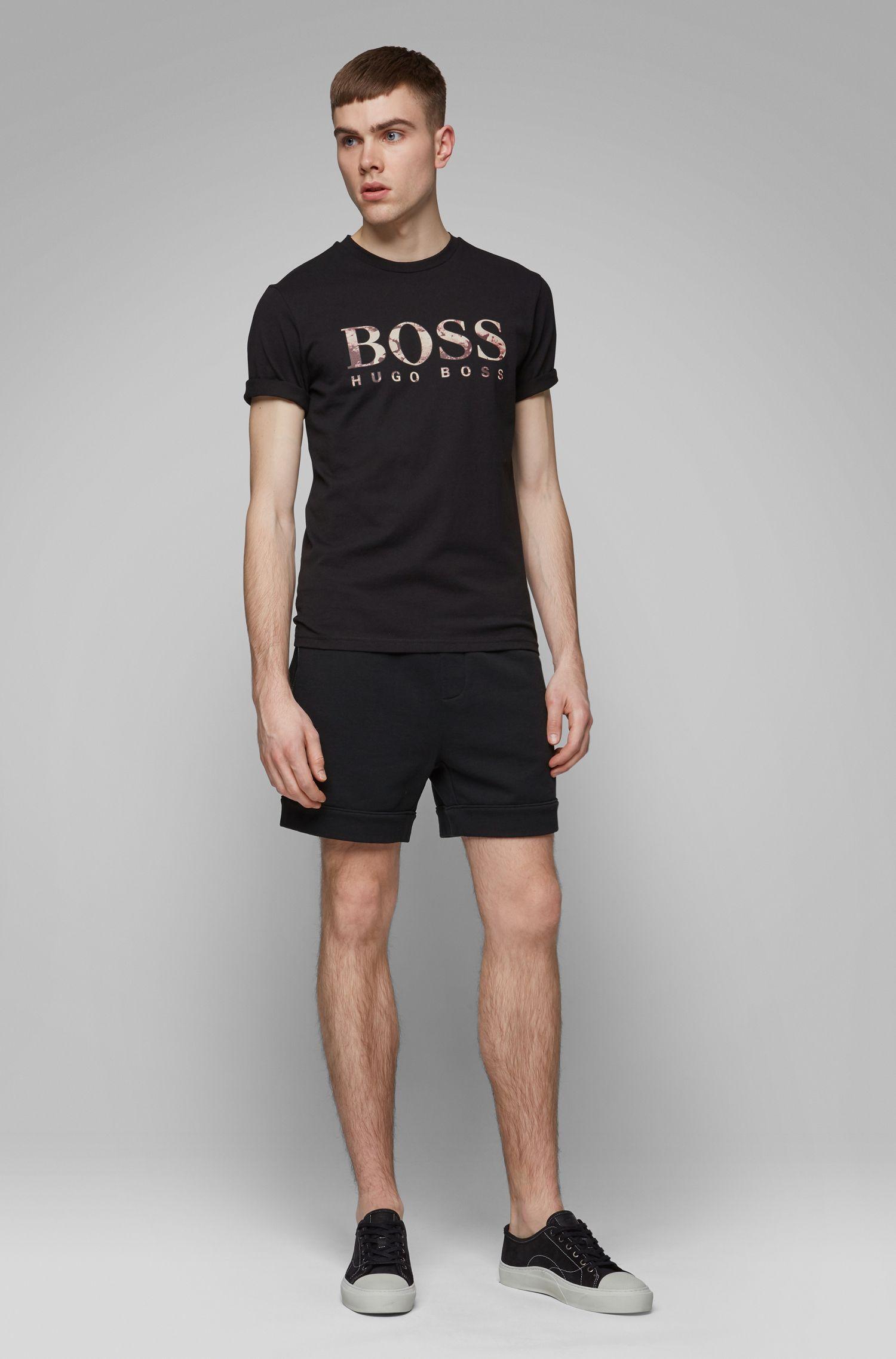 T-Shirt aus Baumwolle mit Logo-Print, Schwarz