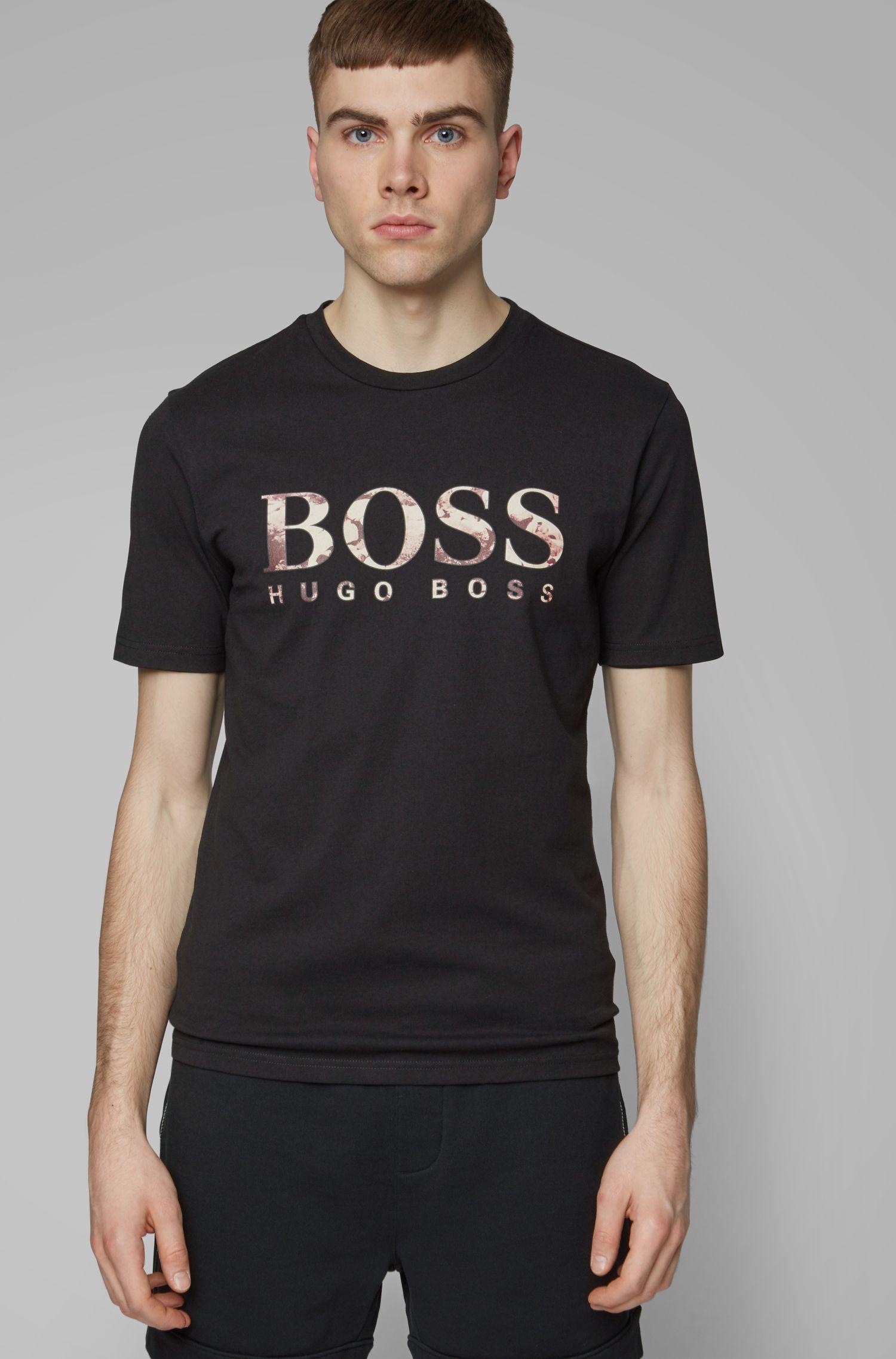 T-shirt regular fit con stampa fotografica del logo, Nero