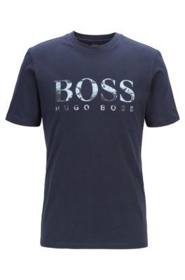 T-shirt Regular Fit à logo imprimé photographique, Bleu foncé