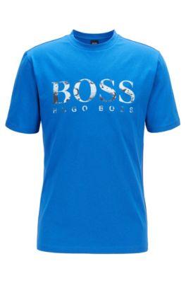 T-Shirt aus Baumwolle mit Logo-Print, Blau