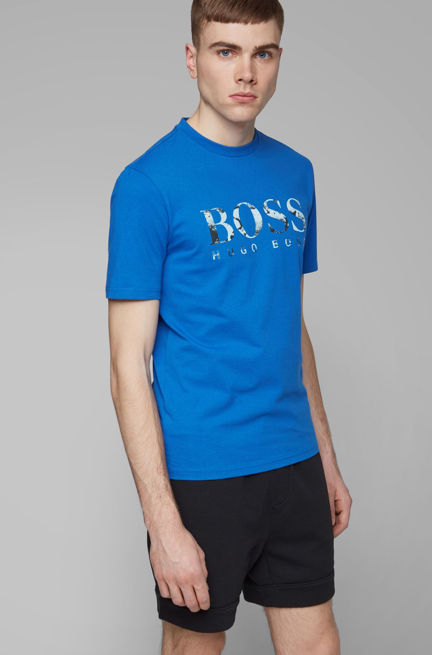 Regular-fit T-shirt with photographic logo print, Blue