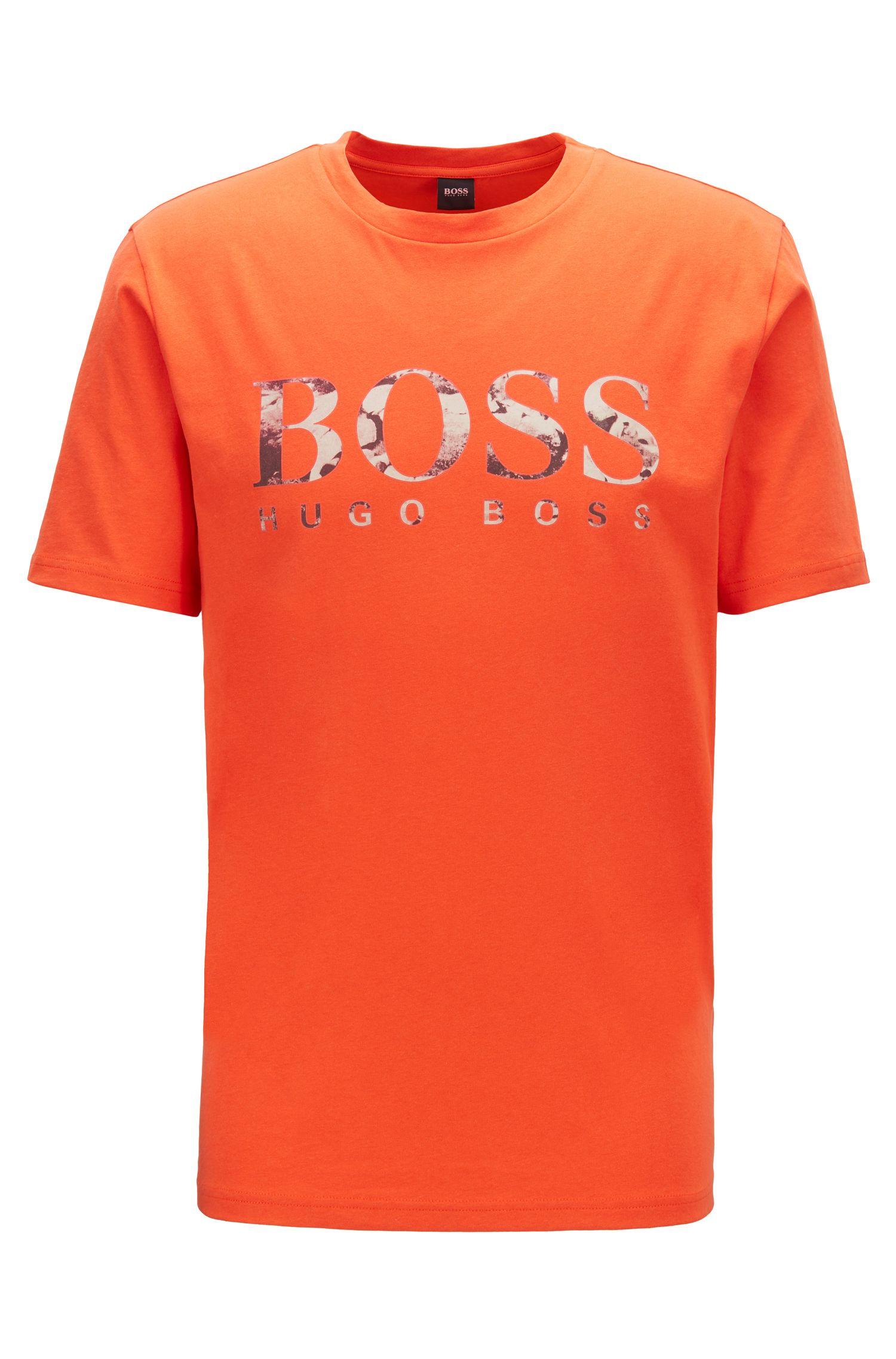 T-shirt regular fit con stampa fotografica del logo, Arancione