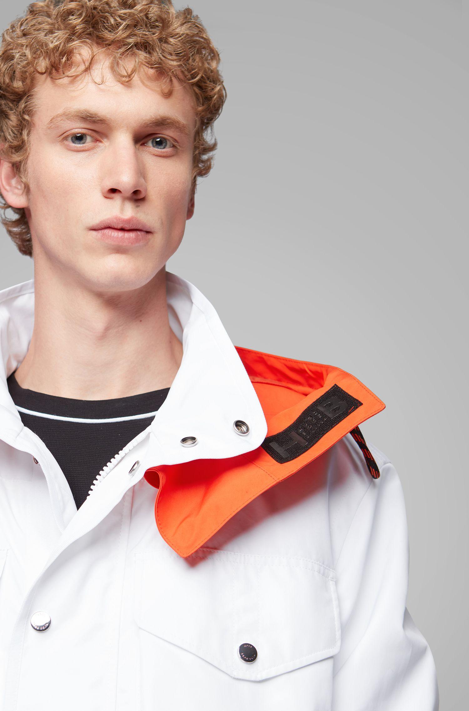 Relaxed-fit jas van waterafstotend materiaal met een katoenen feel, Wit