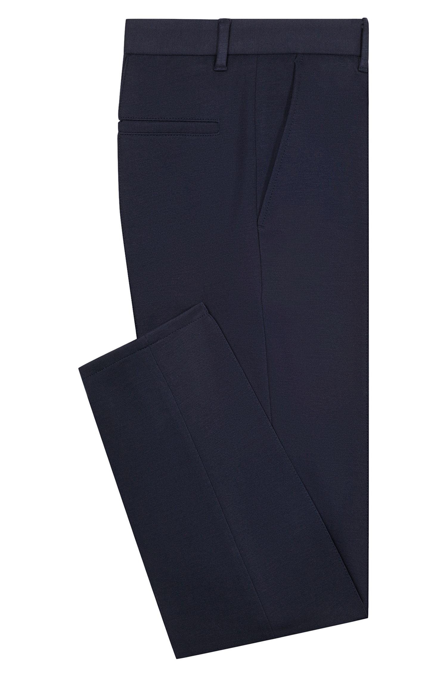 Extra-slim-fit trousers in melange jersey, Dark Blue