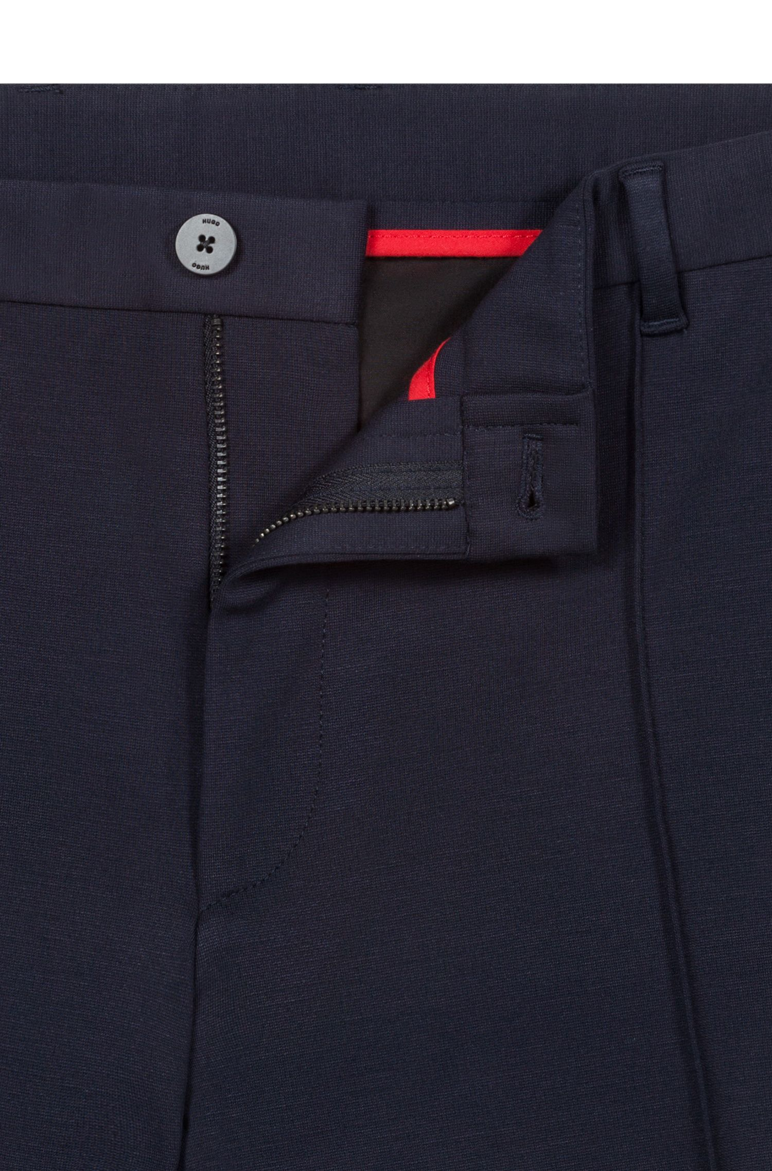 Hugo Boss - Extra-slim-fit trousers in melange jersey - 4