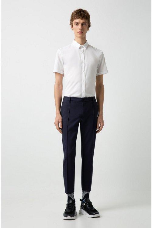 Hugo Boss - Extra-slim-fit trousers in melange jersey - 2