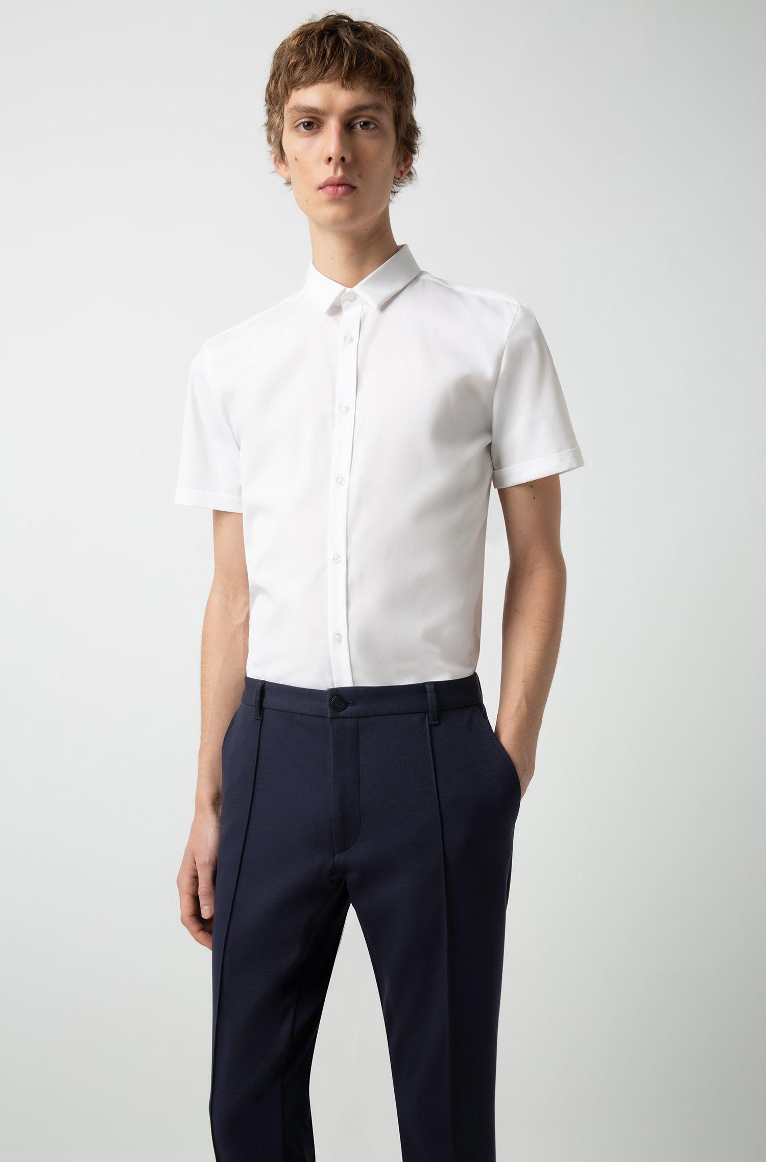 Hugo Boss - Extra-slim-fit trousers in melange jersey - 3