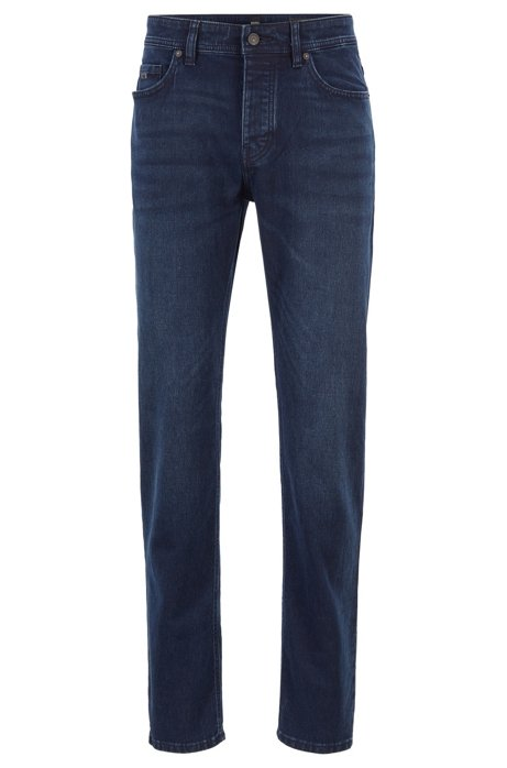 Tapered-fit jeans in overdyed knitted stretch denim, Dark Blue