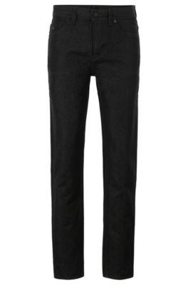 Tapered-Fit Jeans aus japanischem Denim mit Papiergarn, Schwarz