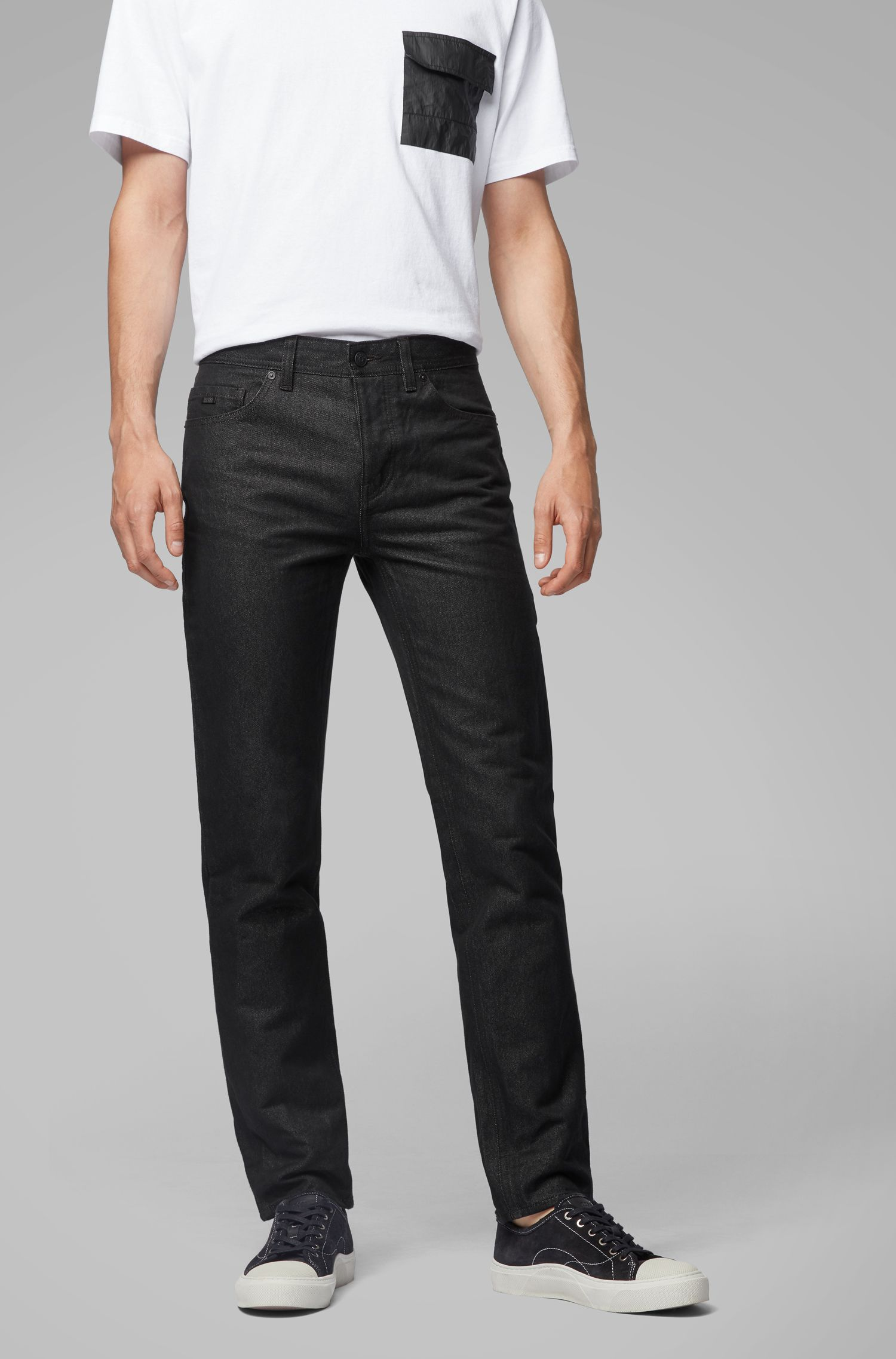 Tapered-fit jeans van Japans denim met papiergaren, Zwart