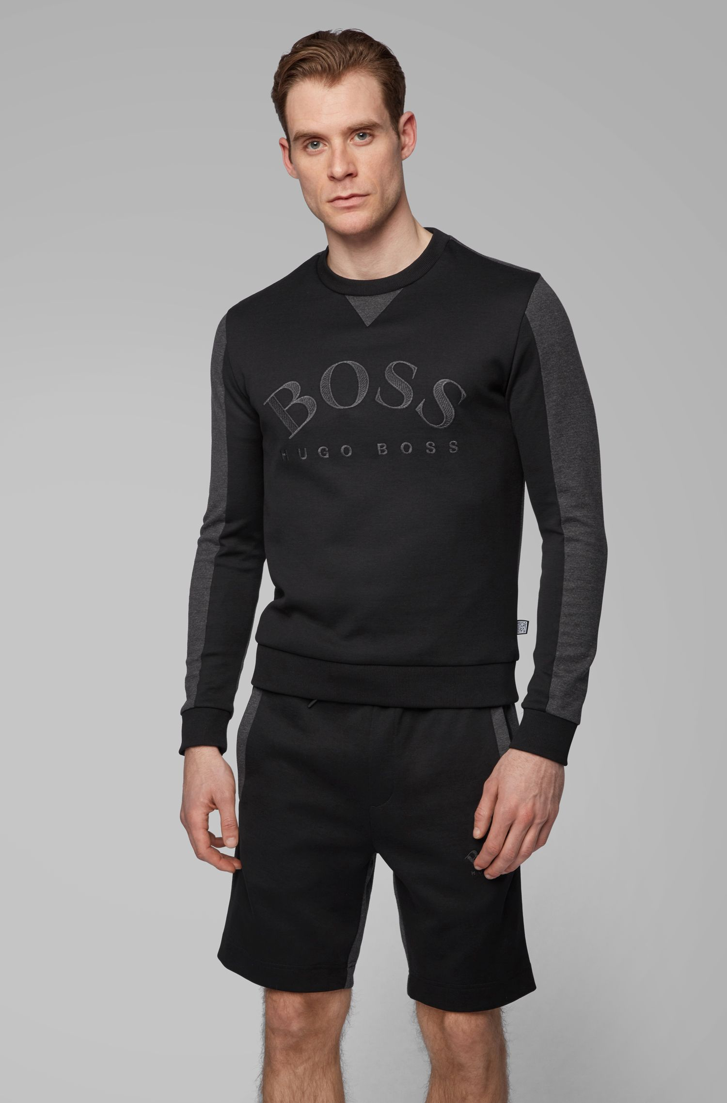 Mixed-material slim-fit sweatshirt with curved logo, Black