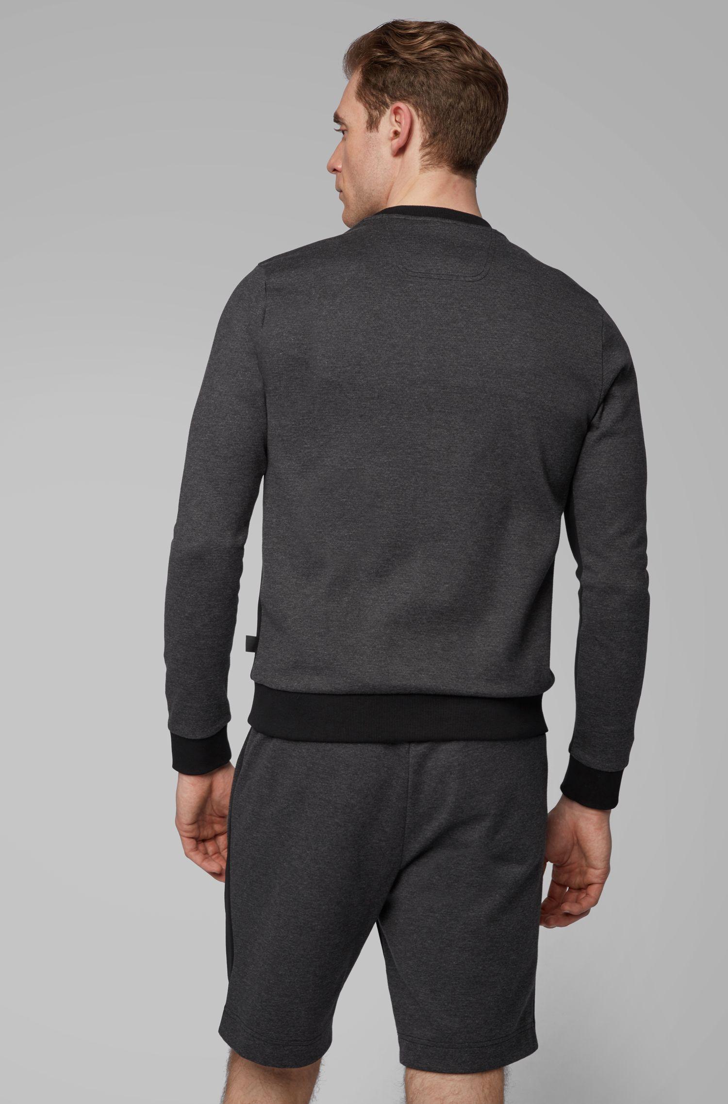 Sweat Slim Fit en tissu mélangé à logo incurvé, Noir