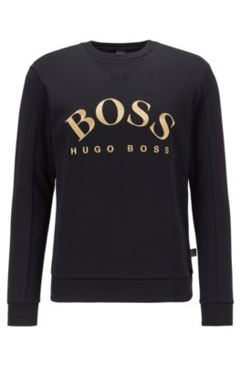 9d93c72366d Mixed-material slim-fit sweatshirt with curved logo