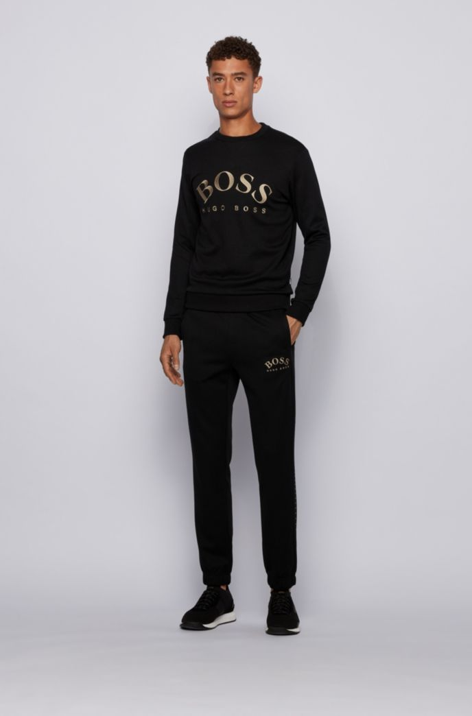 Slim-fit sweater van gemengde materialen met gebogen logo