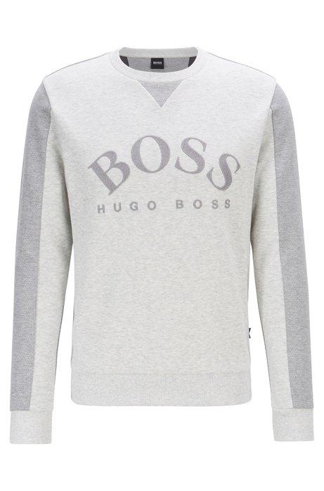 Slim-fit sweater van gemengde materialen met gebogen logo, Lichtgrijs