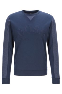 4ea937d5 Mixed-material slim-fit sweatshirt with curved logo