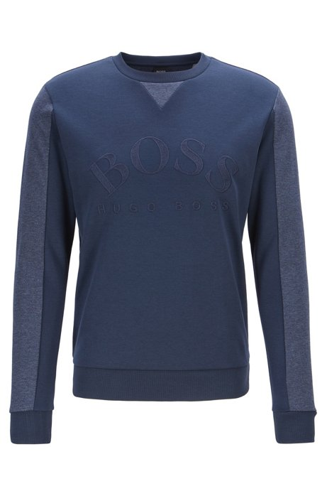 Mixed-material slim-fit sweatshirt with curved logo, Dark Blue