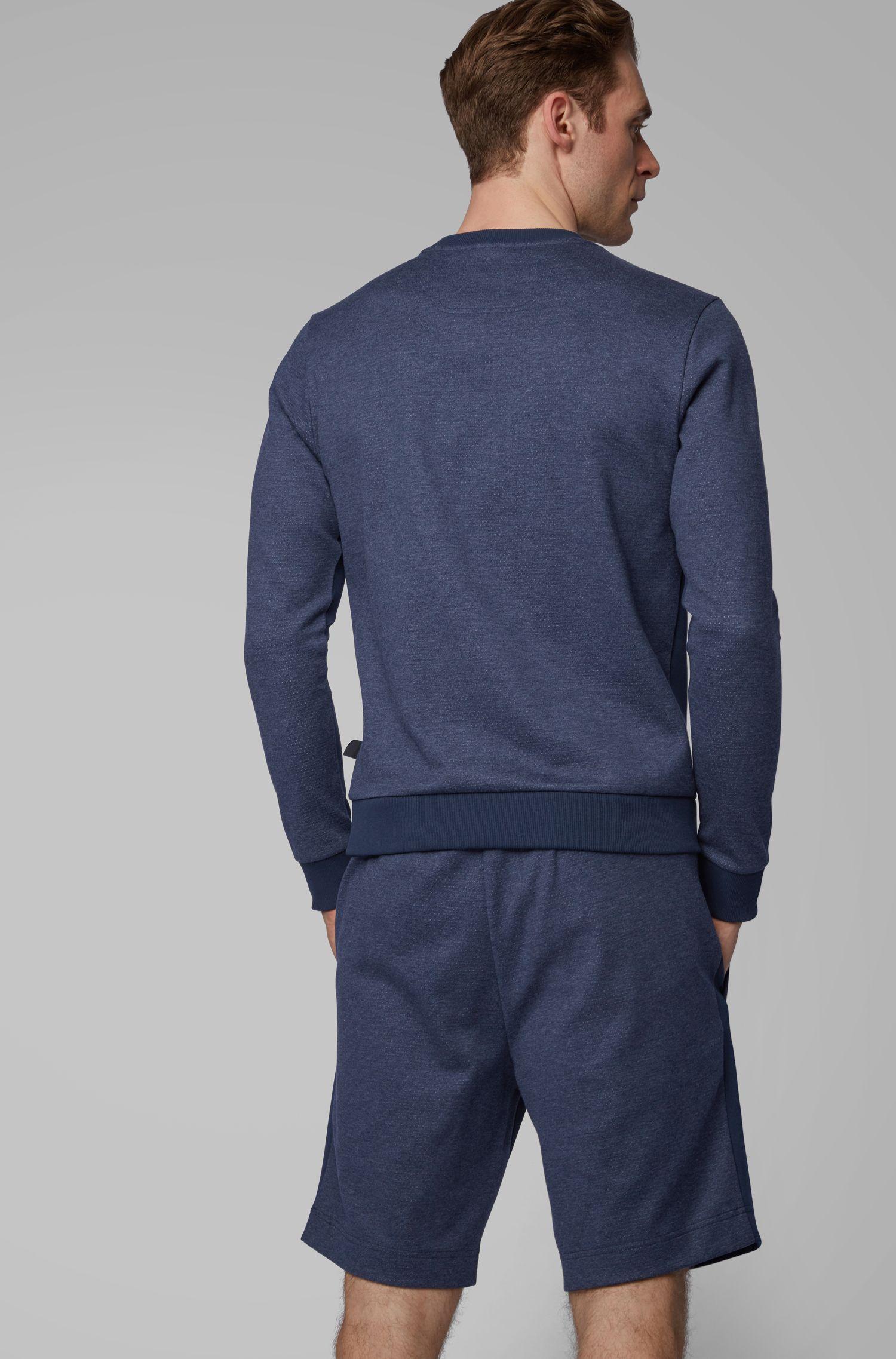 Slim-Fit Sweatshirt aus verschiedenen Geweben mit geschwungenem Logo, Dunkelblau