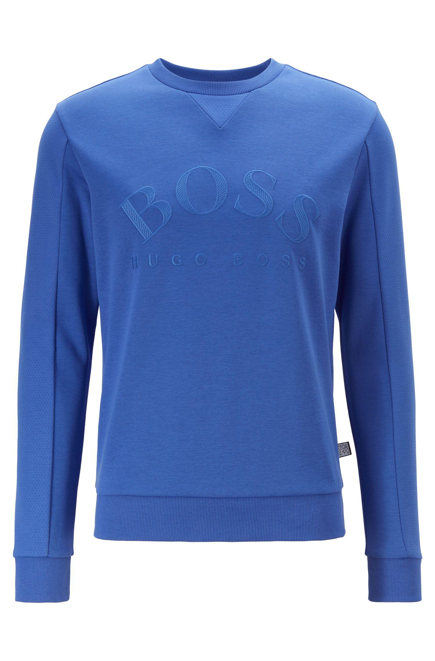 Slim-Fit Sweatshirt aus verschiedenen Geweben mit geschwungenem Logo, Blau