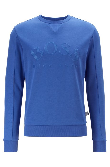 Mixed-material slim-fit sweatshirt with curved logo, Blue