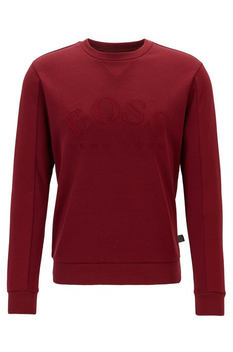 Slim-fit sweater van gemengde materialen met gebogen logo, Donkerrood