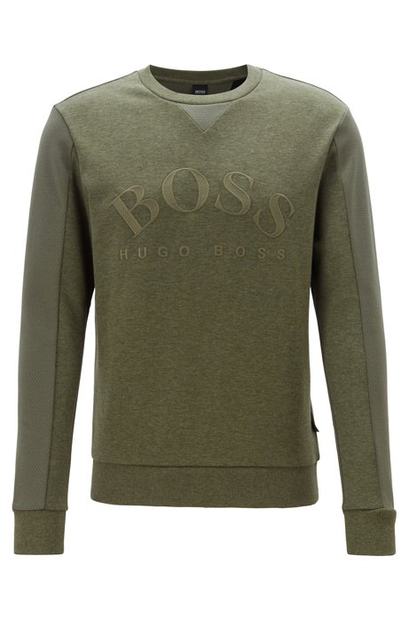 Mixed-material slim-fit sweatshirt with curved logo, Dark Green