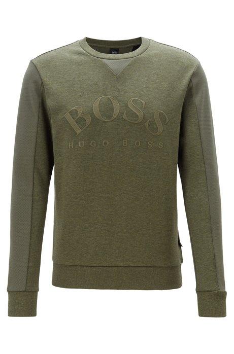 Slim-Fit Sweatshirt aus verschiedenen Geweben mit geschwungenem Logo, Dunkelgrün