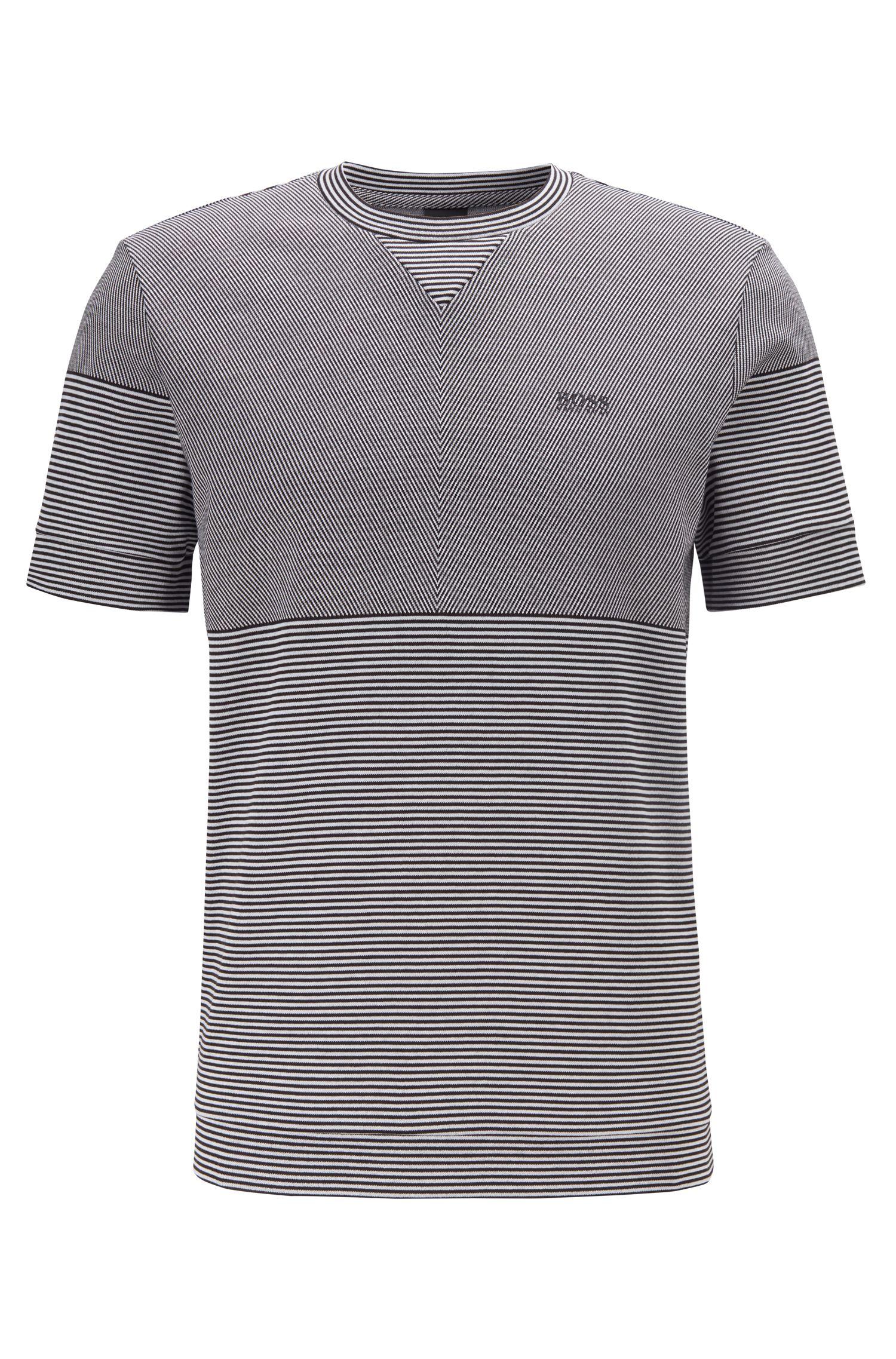 Kurzarm-Sweatshirt aus Baumwoll-Jacquard mit Streifen-Elementen, Schwarz