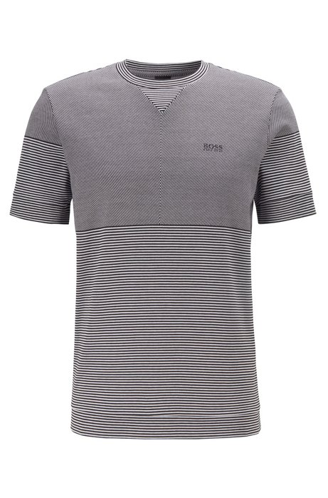 Short-sleeved sweatshirt in cotton jacquard with patched stripes, Black