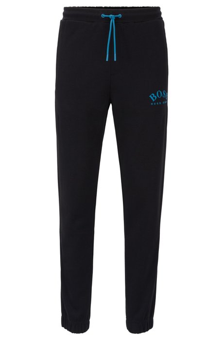 Slim-fit jogging trousers with curved logo, Black