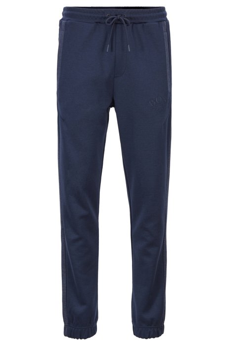 Slim-fit jogging trousers with curved logo, Dark Blue