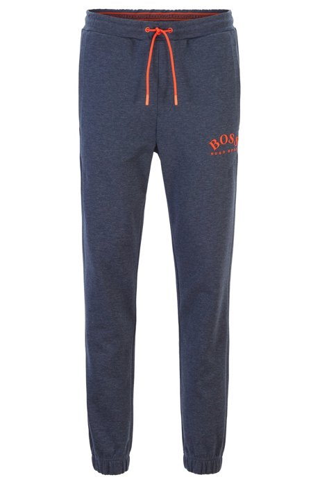 Slim-fit jogging trousers with curved logo, Open Blue