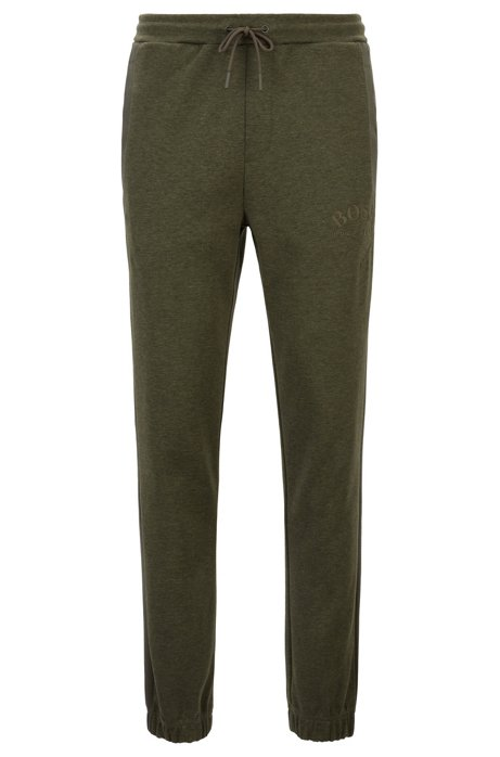 Slim-fit jogging trousers with curved logo, Dark Green