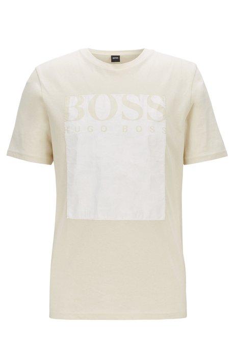 T-Shirt mit Rundhalsausschnitt und Tyvek®-Print mit Logo, Hellbeige