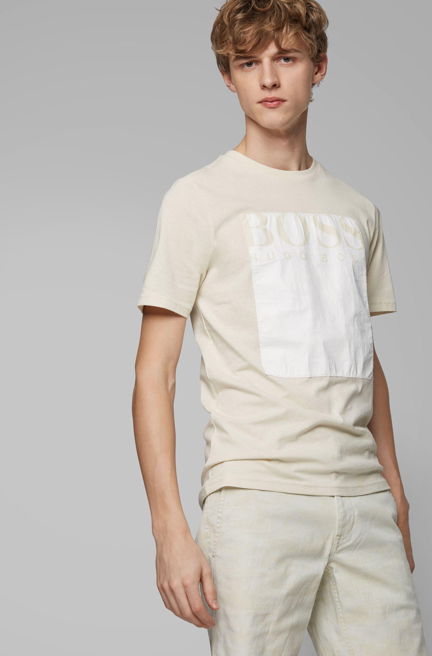 T-shirt à col rond avec logo carré Tyvek®, Beige clair