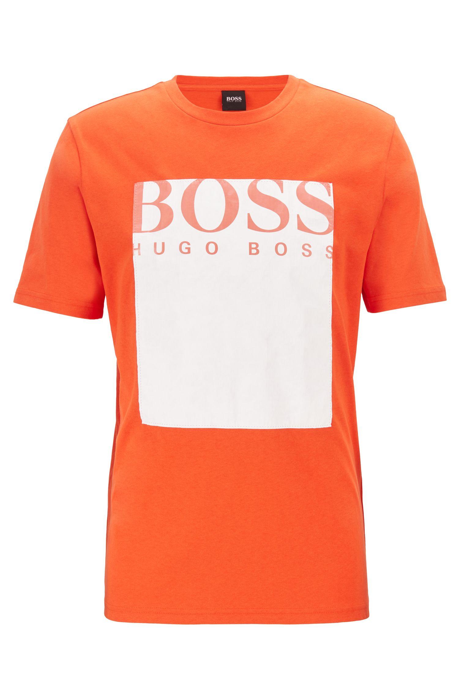 T-shirt met ronde hals en Tyvek®-paneel met logo, Oranje