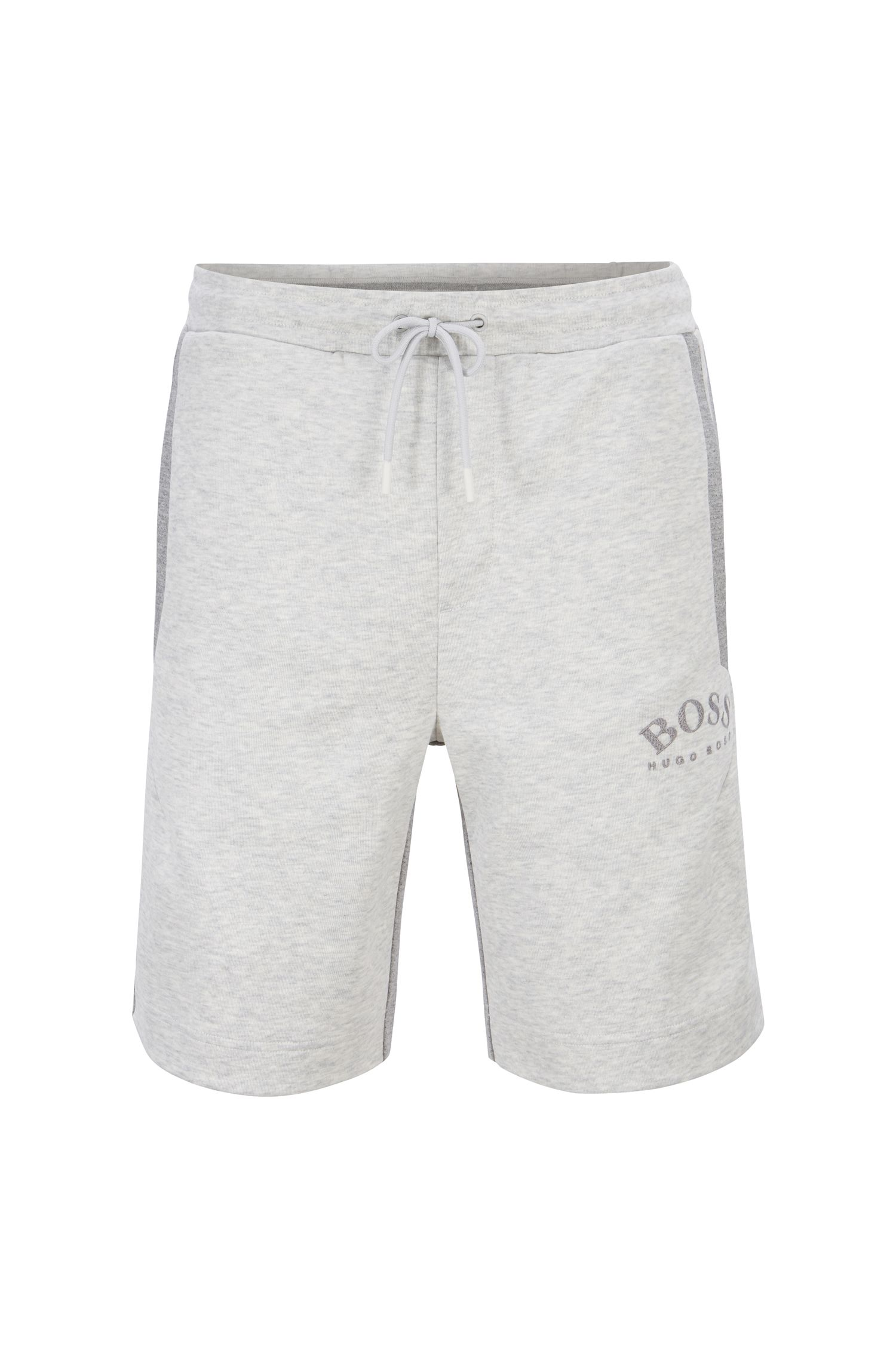 Slim-fit jogging shorts in contrast fabrics with curved logo, Light Grey
