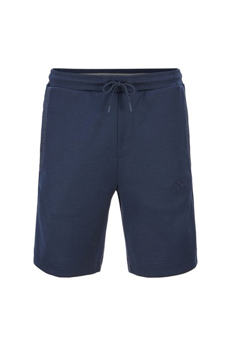 Slim-fit jogging shorts in contrast fabrics with curved logo, Dark Blue