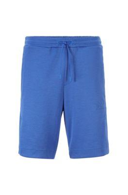 Shorts da jogging slim fit in tessuti a contrasto con logo arrotondato, Blu