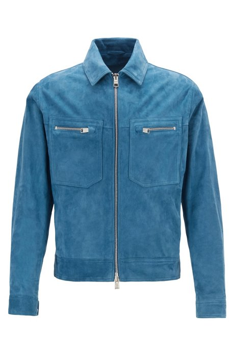 Regular-Fit Blouson aus weichem Veloursleder, Blau