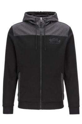 Kapuzen-Sweatjacke mit durchgehendem Reißverschluss und geschwungenem Logo, Schwarz