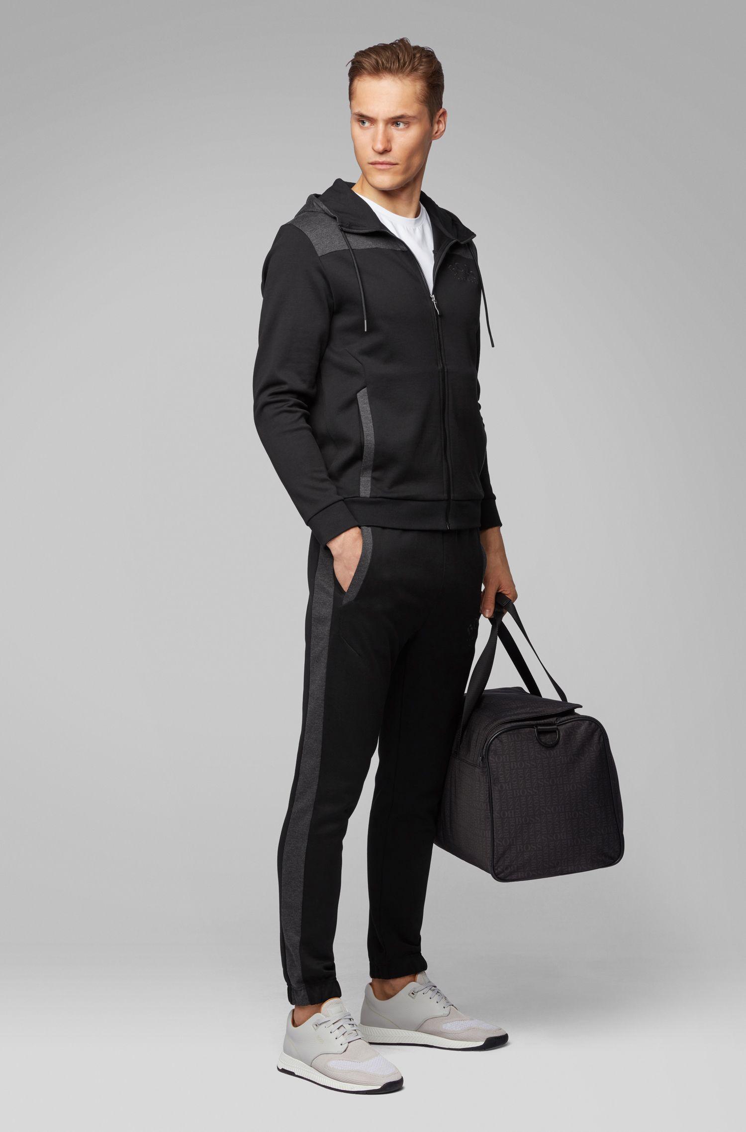 Sudadera con capucha, cremallera integral y logo curvado, Negro