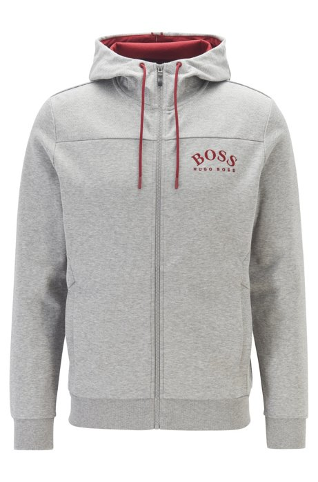 Zip-through hooded sweatshirt with curved logo, Light Grey