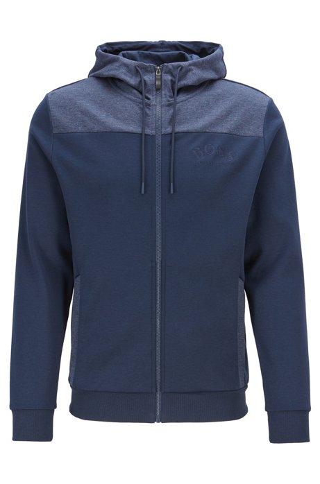 Sweater met capuchon, rits en gebogen logo, Donkerblauw